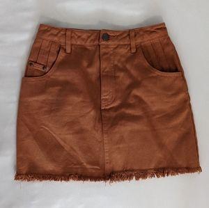 Afends burnt orange denim mini skirt